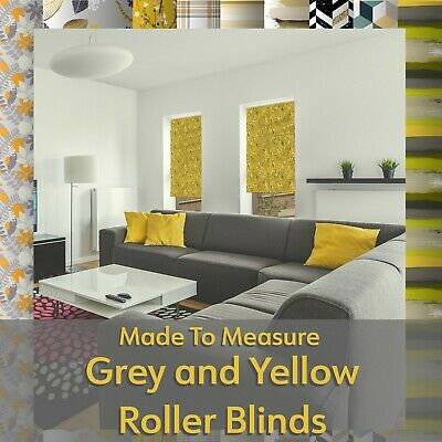 Grey and Yellow Blinds - Printed Patterned Roller Blinds - Made to Measure