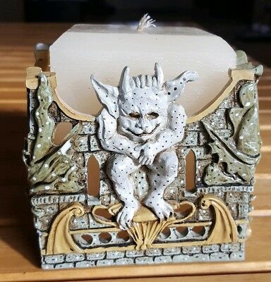 Vintage Silhouettes Gargoyle Dragon Square Candle Holder With Candle