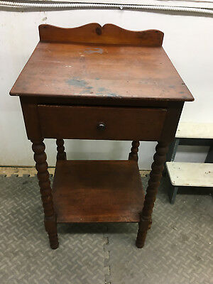 Primitive Handmade Small Wash Stand Spindle Legs Single Drawer Rustic Farmhouse