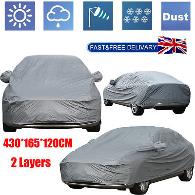 Waterproof Large L 2 Layer Full Car Cover Breathable UV Protect Indoor Outdoor