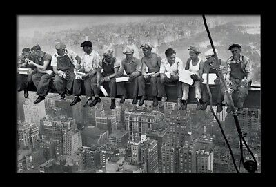 LUNCH ATOP A SKYSCRAPER 13x19 FRAMED GELCOAT POSTER PHOTOGRAPHY NYC ICONIC IMAGE