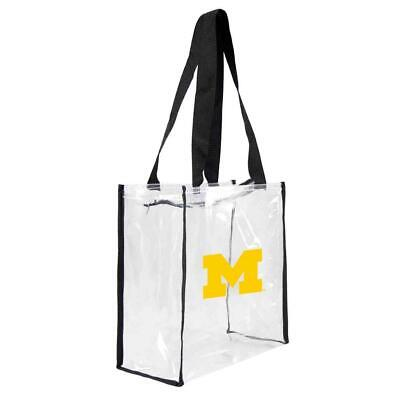 huge selection of 29fc3 4af70 Michigan Wolverines Clear Square Stadium Tote (NEW) NCAA Bag Purse Zipper  Game