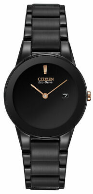 NEW* Citizen GA1055-57F Women's Eco-Drive Rose Gold Accents Black 29mm Watch