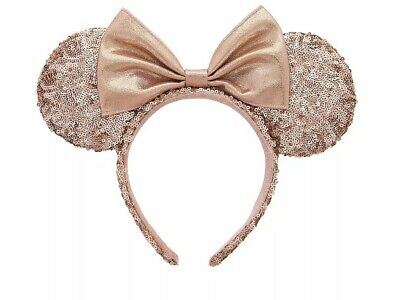 NWT Disney Parks Minnie Mouse Ears Hat Headband Pink Sequin Pastel Rose Gold