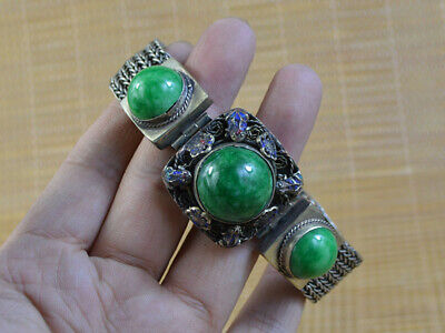 Vintage Tibet Silver&Jade Bracelet Old Sacred Of Men Women's Decor Collec Art