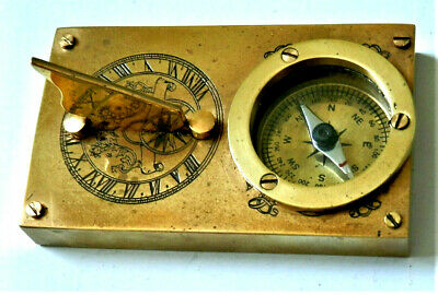 Vintage Brass Compass And Sundial Timer , Heavy , Marine ? Very Nice