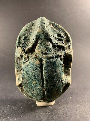 Large - Circa 715-332Bce Ancient Egyptian Solid Stone Scarab With Hieroglyphics