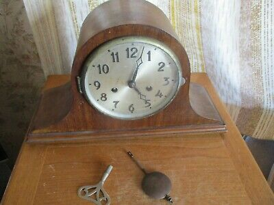 vintage art deco english  napolion hat  chiming mantle  clock/