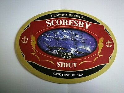 Beer pump clip badge front CROPTON brewery SCORESBY STOUT cask ale Yorkshire