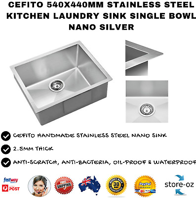 Cefito 540x440mm Stainless Steel Single Bowl NanoKitchen Laundry Sink  - Silver