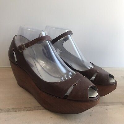 e187c9a2cb7 BCBG Max Azria Platform Sandals Brown Wooden Wedges Ankle Strappy Women s  US 8