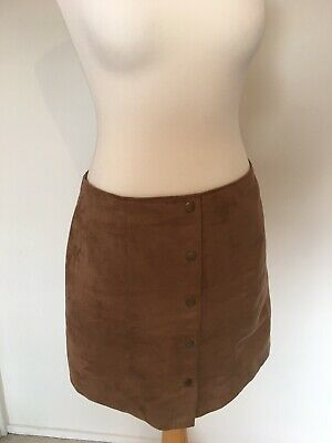 Brown Suede Mini Button Up Style Skirt Uk 14 GAP Retro 60s 70s Vintage Style