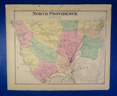1870 North Providence, Rhode Island, Hand-Colored Map, D.G Beers Co.