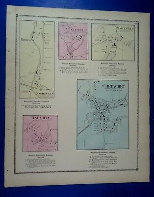 1870 Six Towns, Rhode Island, Hand-Colored Maps, D.G Beers Co.