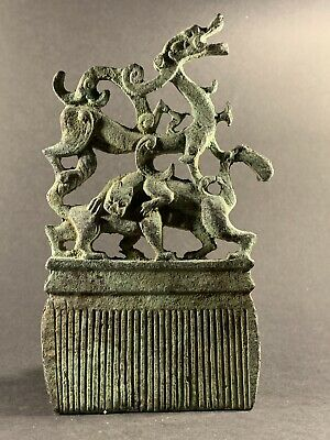 Scarce Circa 650-450Bce Ancient Luristan Zoomorphic Bronze Comb Highly Decorated