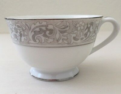 Sango Japan Fine China Duchess Coffee and Tea Cup White with Silver Trimming