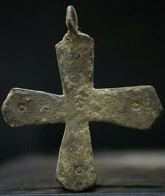 Ancient Viking Large Bronze Cross. Rare Amulet with Norse Decoration, 950-1000Ad