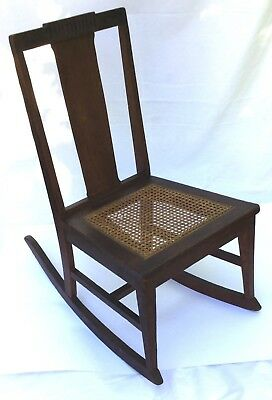 Antique Mission Style Wooden Rocking Chair Orig Seat & Label P. DERBY & Co. N.Y.