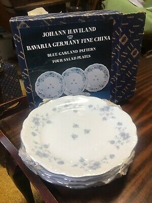 Johann Haviland Blue Garland Salad Plates Bavaria Germany NOS