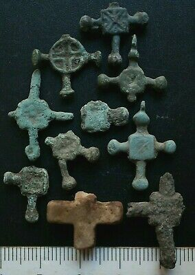 Group of 10 Ancient Viking Bronze Cross. Stunning Norse Amulets, c 950-1000 Ad.