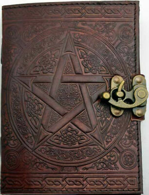 """Brown Leather Pentagram Journal 7"""" x 5"""" Book of Shadows Wicca Pagan Magick Diary"""