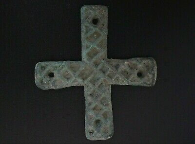 Ancient Viking Bronze Cross. Large Norse Amulet Pendant, c 950-1000 Ad Decorated