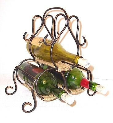 Wine Rack Rustic Wrot Iron and Woven Straw 3 Bottle Portable Counter-top EUC