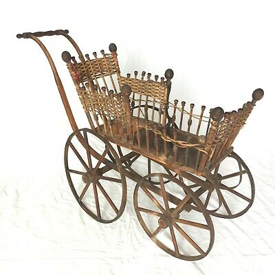 Antique Victorian Wicker Stick & Post Baby Doll Pram Carriage Stroller Buggy
