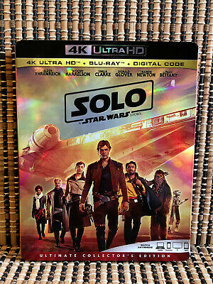 Star Wars: Solo 4K (1-Disc Blu-ray, 2018)+Slipcover.Disney/Han/Ron HowardGlover