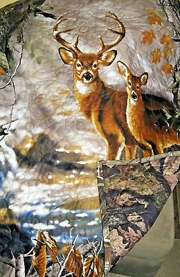 HANDMADE Baby Quilt Crib Size Woodland  Deer by REAL TREE Fabric Ready to Ship