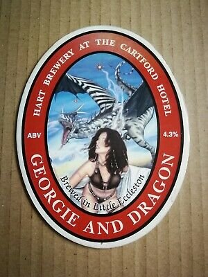 Beer pump clip badge front HART brewery GEORGIE AND DRAGON cask ale Lancashire
