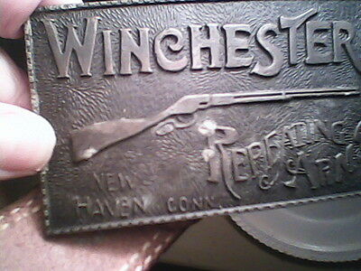 Brass/Metal Belt Buckle Winchester Repeating Arms/Hand Tooled Leather LEE BELT!