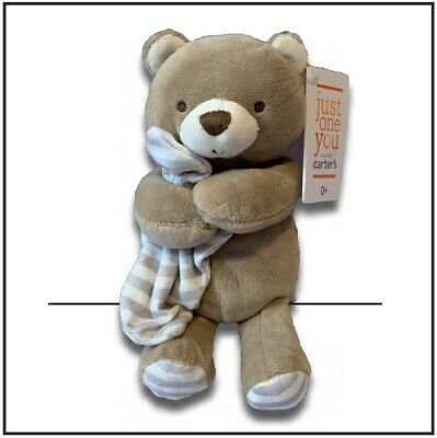 NWT Just One Year Carter's tan plush stuffed bear rattle baby toy lovey blankie