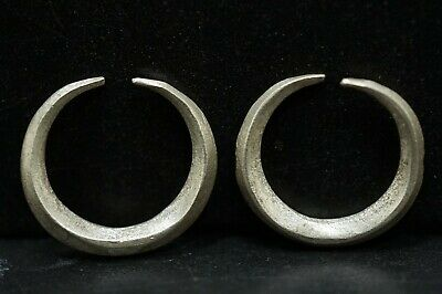 Complete Pair of 2 Ancient Viking Silver Earrings Amulets, circa 950-1000 AD.