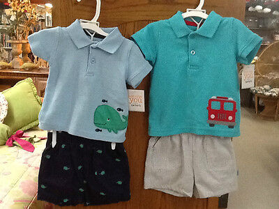 NWT! Just one you by CARTER'S Boys 2 pc Shorts Outfit Size 6m Whale or Truck