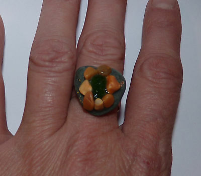 Beautiful Sea Glass, Slate Stone & Beach Pebbles Ring. Boho/Hippie/Beach