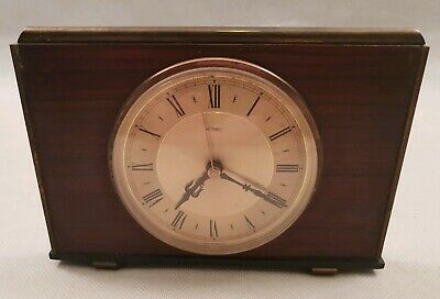 Vintage Metamec Rectangular Teak Wooden Mantel Clock with Brass Trims 1960s