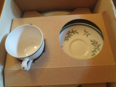 New NIB Spode Christmas Tree 3 pc Buffet set Made in England plate cup saucer