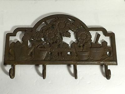 Ornate Garden Potted Plants Planters Cast Iron Wall Hook Coat Rack Hooks