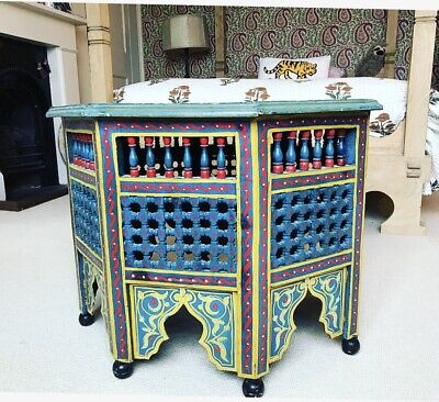 A Vintage Octagonal Painted Islamic/Moroccan Table