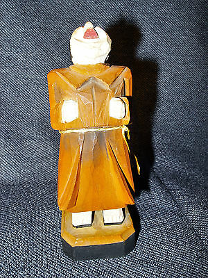 Rare Antique Hand Carved and Painted Wooden Monk Figurine Folk Art EUC