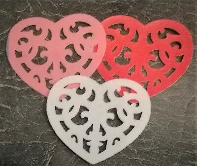 12 VALENTINES heart shape PRE CUT edible cake toppers Wafer paper or Icing
