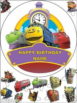 "Edible Round 7,5"" Chuggington Birthday Cake Topper And 12 Standing Toppers"