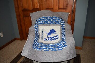 Baby Crib Quilt M/w Detroit Lions Fabric