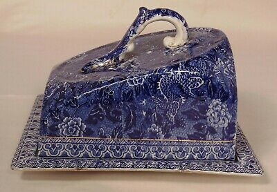 English Shelley China Flow Blue White Cheese Dish Wedge Dome Server