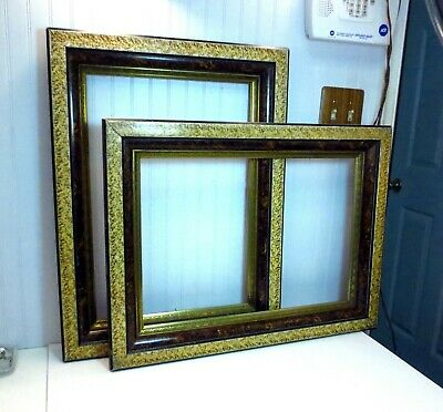 """PAIR Antique Victorian Marbled Wood & Gilt Gesso Picture Frames 14 x 20"""" Inner"""