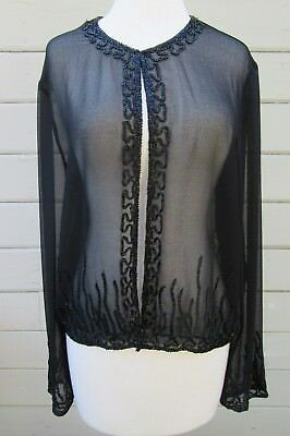 9f3be5fe BLACK SATIN BEADED Open Front Jacket Size Medium - $45.00 | PicClick