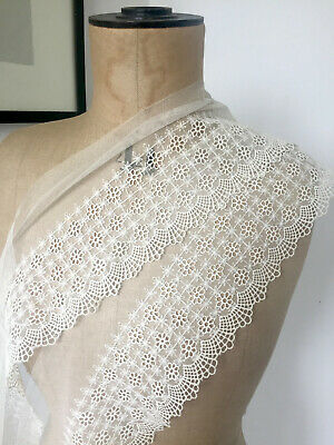 2m Vintage Lace ~ embroidered tulle ~ deep petticoat trim ~ pale cream