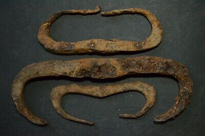 Group of 3 Ancient Viking Iron Strikers. Three Norse Fire Starters, c 950-1000Ad