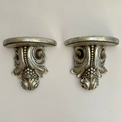 """Silver Leaf Acanthus Wall Corbels Sconces Brackets 5.5"""" T X 5.5"""" W, Set Of 2 New"""